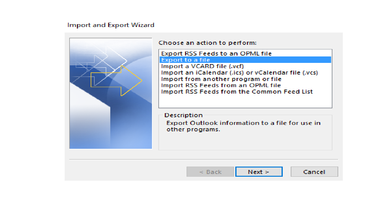Open & Export wizard - Manual method for Export OST file to PST  Format