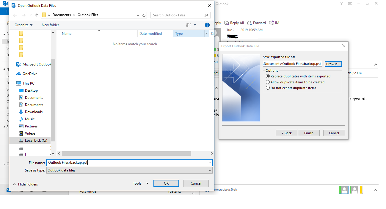 Import and Export method to restore the OST File data in the PST format Manually final step