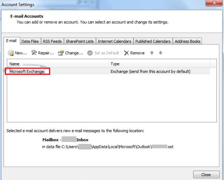 Outlook Microsoft Exchange Account Settings