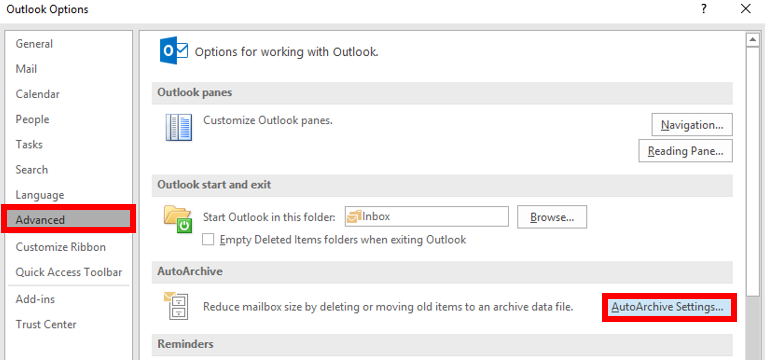 Outlook Archive Settings