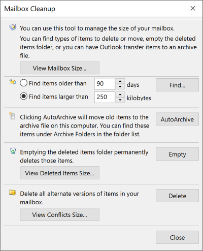 Mailbox Cleanup Options