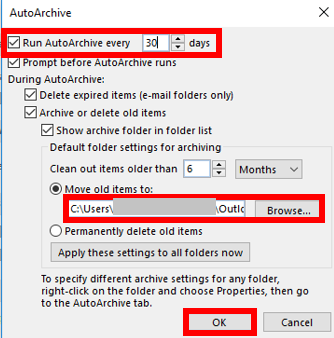 Outlook AutoArchive Settings